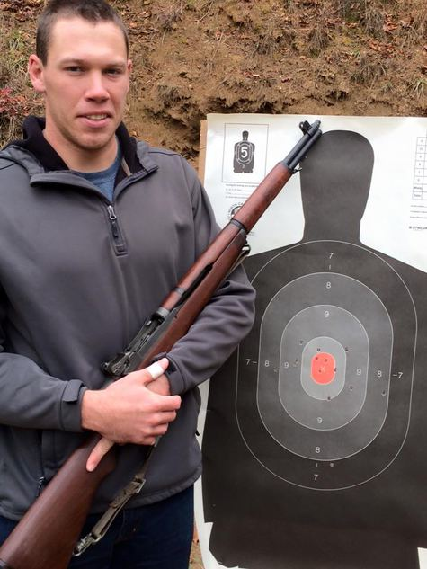 Ian with a WW II Springfield M1 Garand rifle at Ashe County Wildlife Club