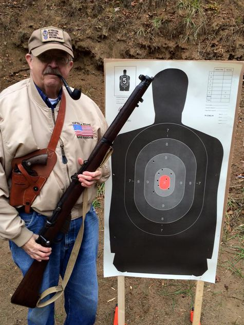 Raymond with his 1914 Short Magazine Lee Enfield rifle at the Ashe County Wildlife Club gun range