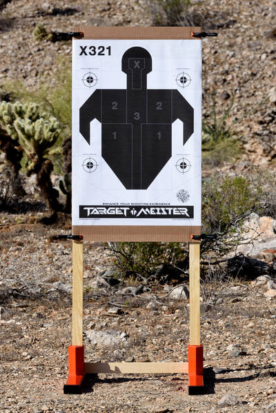 Dirty Harry stand with paper target attached to backer